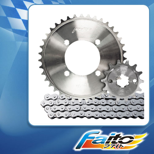 RACING SPROCKET CHAIN ASSY (CHROME) - KRISS100 (415)