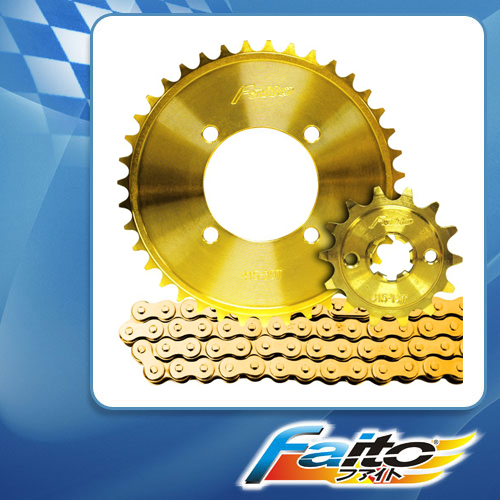 RACING SPROCKET CHAIN ASSY (GOLD) - KRISS100 (415)