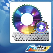 RACING SPROCKET CHAIN ASSY (RAINBOW) - CT110 (415)